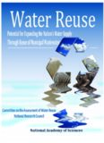 Water reuse : potential for expanding the nation's water supply through reuse of municipal