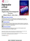 Engineering Electromagnetics Sixth Edition William H. Hayt, Jr. . John A. Buck Textbook Table of ...
