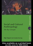 Social and Cultural Anthropology: The Key Concepts