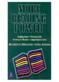 More Reading Power:  Reading Faster, Thinking Skills, Reading for Pleasure, Comprehension Skills